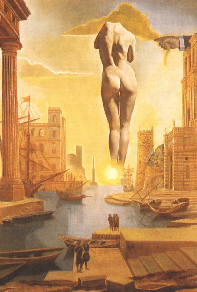 Dalí's Hand Drawing Back the Golden Fleece in the Form of a Cloud to Show Gala the Dawn, Completely Nude, Very, Very Far Away Behind the Sun (stereoscopic work, right component), 1977