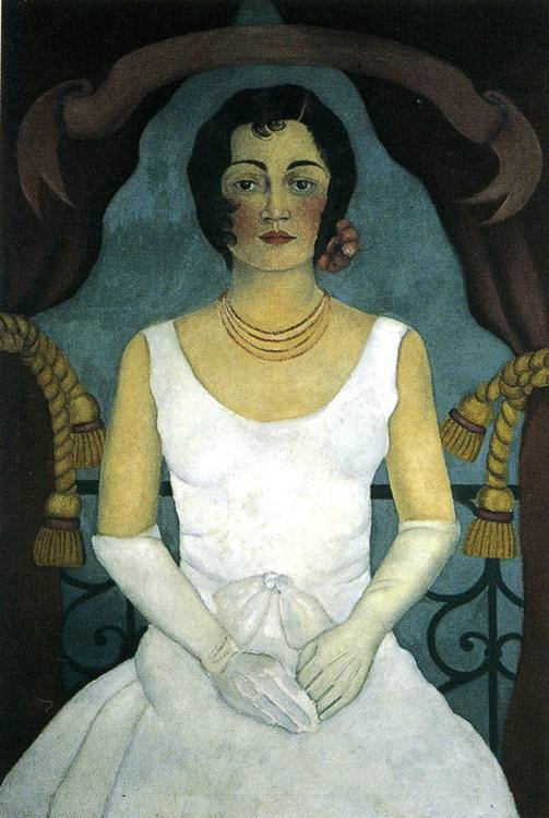 Portrait of a woman in white - by Frida Kahlo