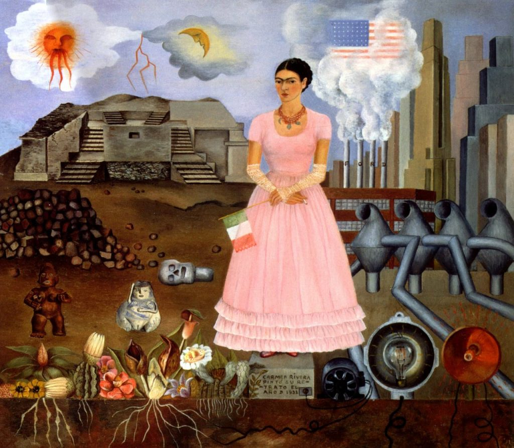 Self portrait along the boarder line between mexico and the united states - by Frida Kahlo