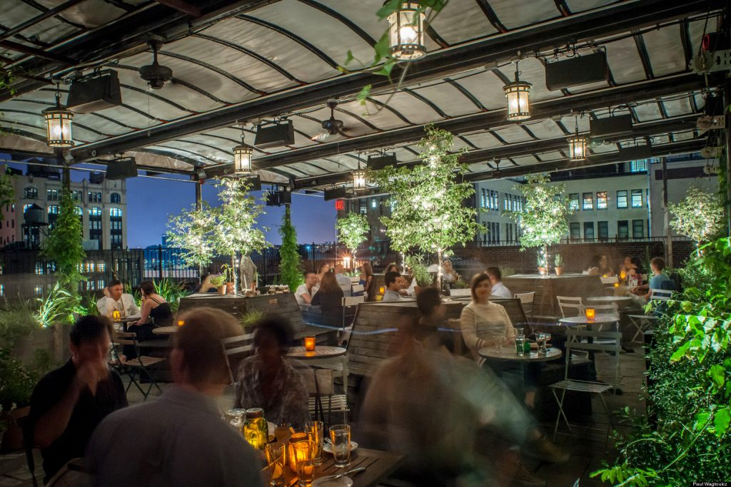 The Gallow Green, a roof-top bar and restaurant in Mckittrick Hotel-new-york