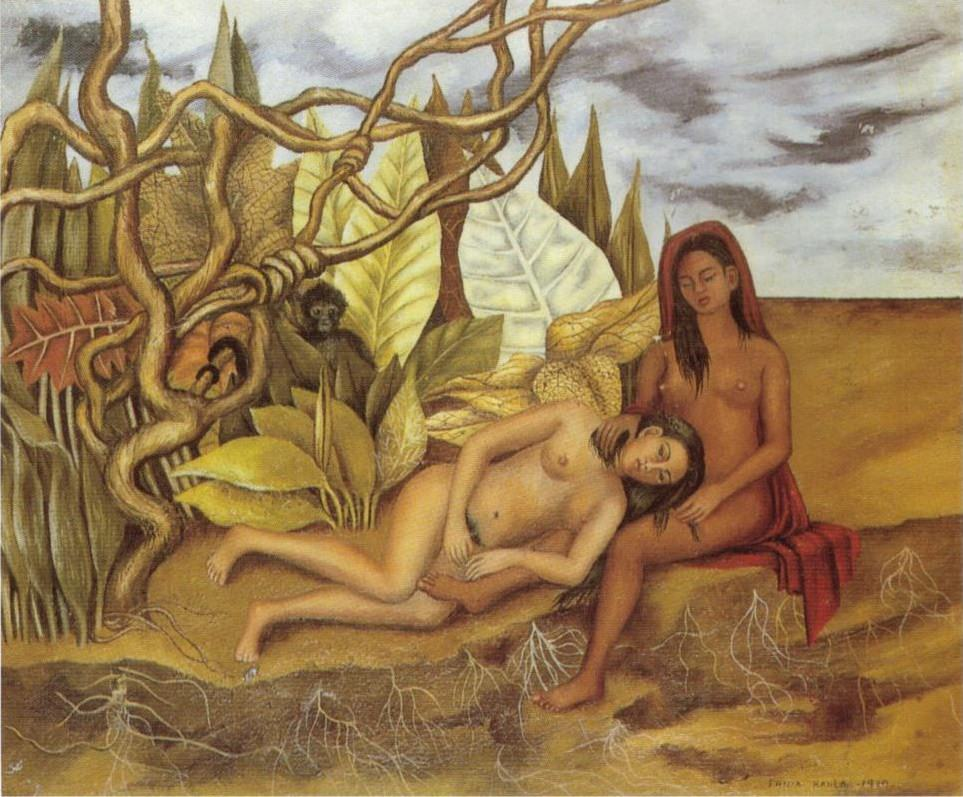 Two nudes in the forest the earth itself