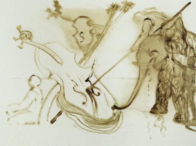Warrior Mounted on an Elephant Overpowering a Cello, 1983