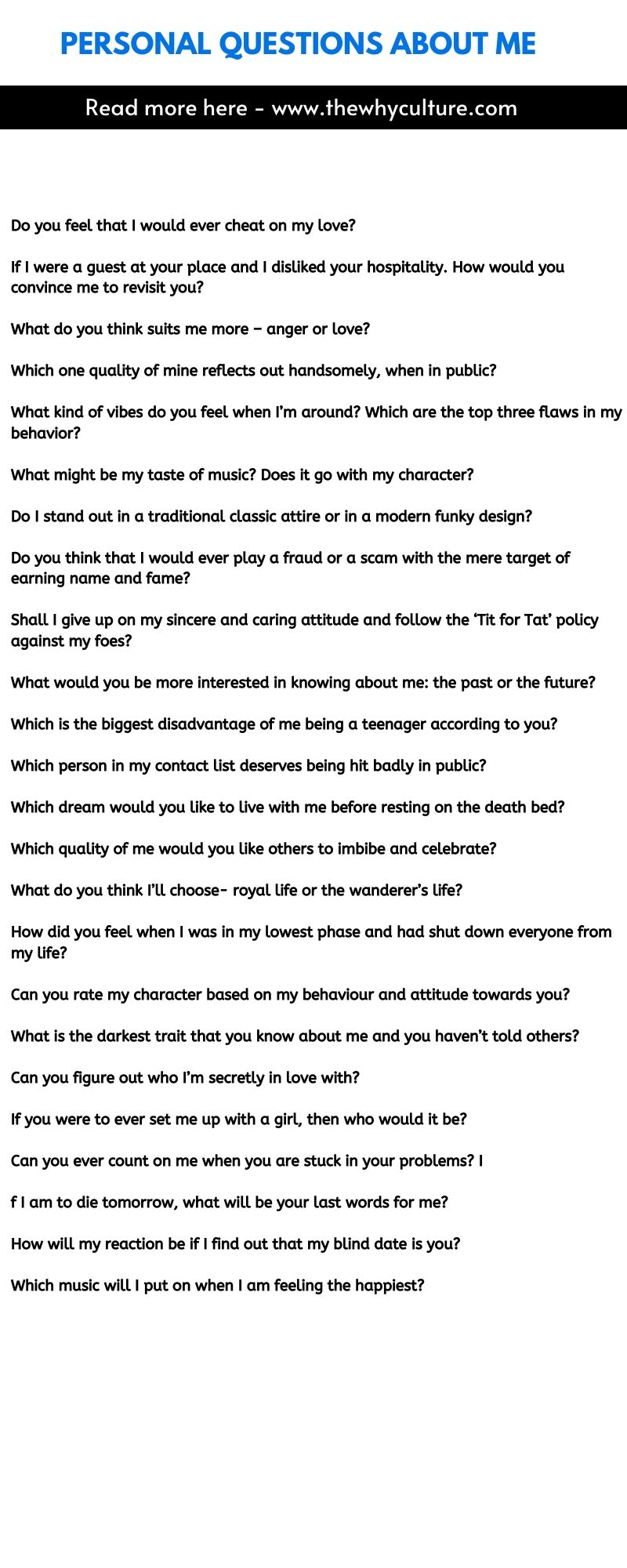 Personal questions about me - Download the list