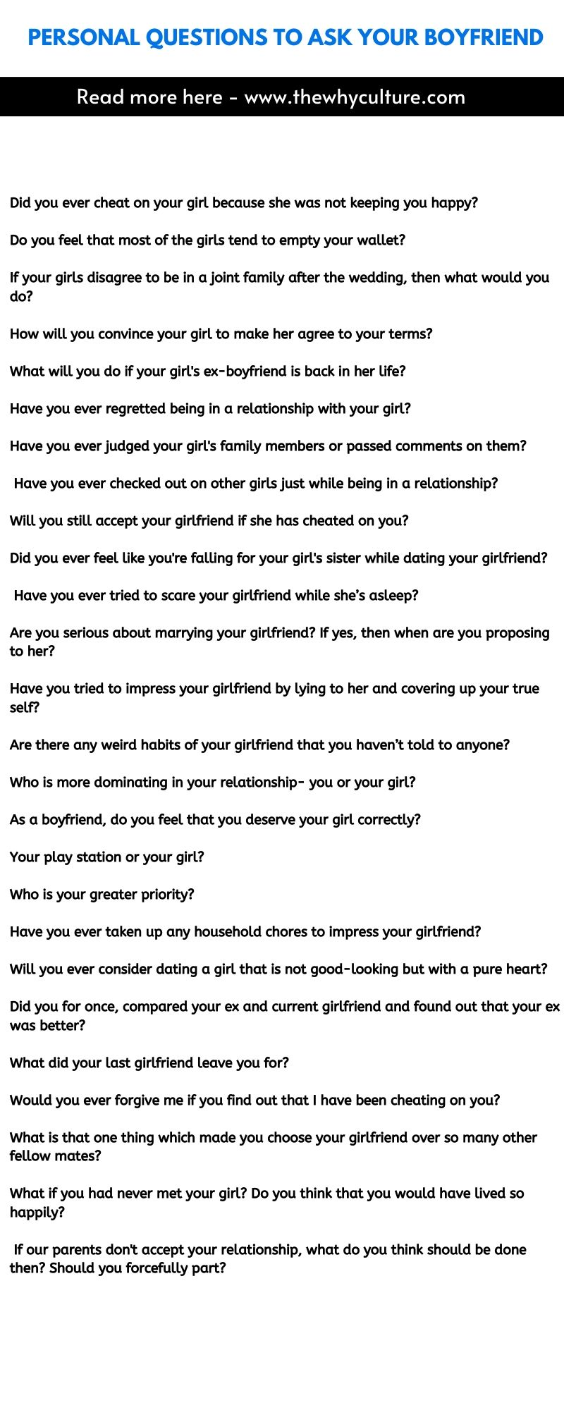 Personal questions to ask your boyfriend - Download the list