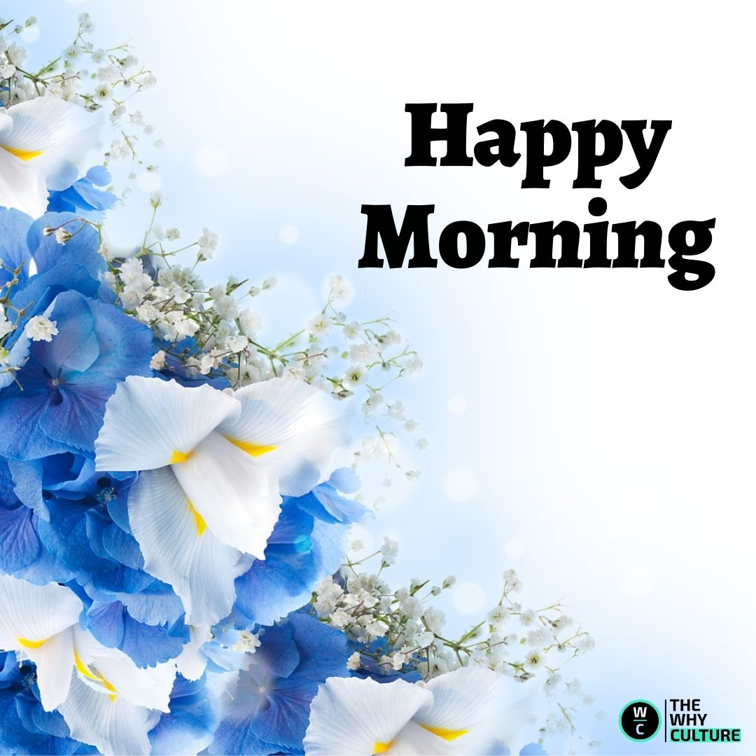 Good morning images with blue flower