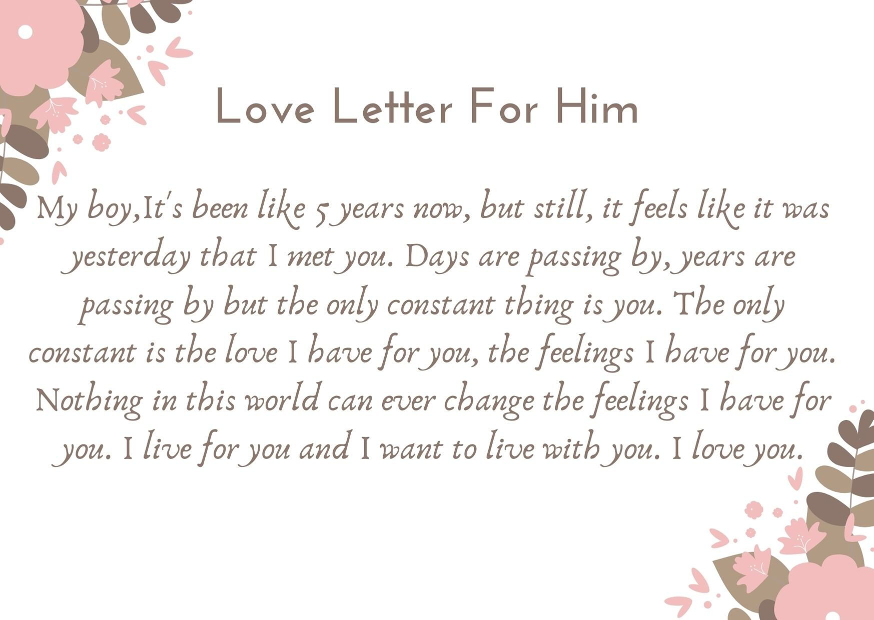 Love Letter For Him